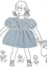 Vintage Knitting PATTERN to make Baby Toddler Knitted Lace Pattern Dress