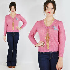 Vtg 70s Boho Hippy Floral Embroidered Sheer Crochet Open Knit V-Neck Sweater S M