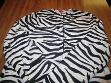 Striped White Black ZEBRA Adult Footed JUNGLE Pajamas LARGE New FOOTIE PJs