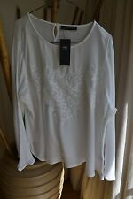 NEW MARKS AND SPENCER OFF WHITE LIGHTWEIGHT LONG SLEEVE TOP  / BLOUSE SIZE 24