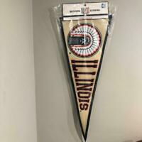"Chief Illiniwek Fighting Illini Felt Pennant Banner - Approx. 32"" X 13.5"" +/-"