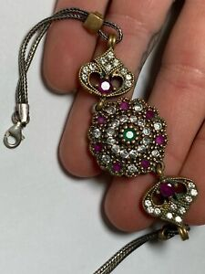 VTG Sterling Silver 925 & Brass Victorian Revival Ruby Gemstone Chain Bracelet