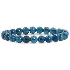 "Natural Shops Apatite Rock Crystal Gemstone 8mm Round Beads Stretch Bracelet 7"""