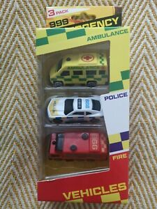 3 Pack Toy Emergency Cars Ambulance Police Fire Boys Christmas Present Stocking