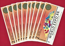 TEN COLORFUL $2 1988 AUSTRALIA - WORLD-EXPO PARTIALLY-ENGRAVED (ABNC) UNC NOTES
