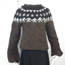 Helga Marin Icelandic Nordic Hand Knit Wool Fair Isle Fisherman Ski Sweater Sz M
