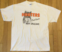 Vintage 90s HOOTERS t shirt L New Orleans French Quarter white single stitch