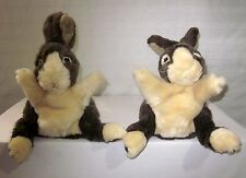 FOLKMANIS DUTCH BUNNIES RABBIT HARE HAND PUPPETS LOT SET OF 2