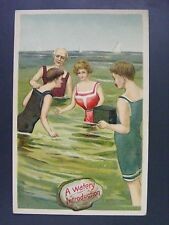 Bathing Beauty Ocean Swimsuits Box Camera German Embossed Antique Postcard c1910