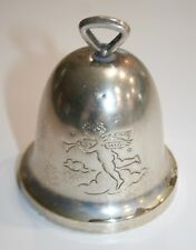 "Silverplate Christmas Bell Star of Bethlehem Angel w/Horn 3 1/2"""