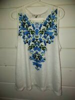 Milly XL White & Blue Floral Sleeveless Top