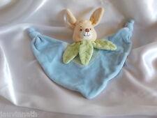Doudou lapin bleu, feuilles vertes, Jollybaby