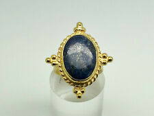 Stunning Studio Gold on Sterling Silver Lapis Lazuli Cocktail Ring Size O 1/2