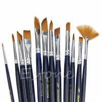 12Pcs Nylon Hair Acrylic Oil Painting Watercolor Artist Paint Brush Supplies Set