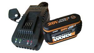 WORX WA3880 20V Li-ion Fast Charger - Black and 20V battery