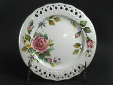 "Brunelli Floral Rose Dinner Plate Reticulated Pierced Rim Italy 10 1/4"" EC"
