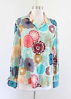 Robert Graham Womens Geometric Medallion Print Button Front Blouse Shirt Size L