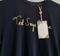 Womens Ted Baker Navy Blue Relax T Shirt Ted Baker Size 3 UK Medium Large RRP£49