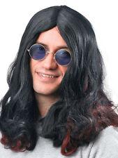 Rock Star Black Sabbith Ozzy Osbourne Hippy Hippie Wig Fancy Dress Accessory