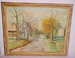 RURAL BUCKS COUNTY PA SCENE PAINTING SIGNED H.C. BROWN - STUDIED UNDER BAUM