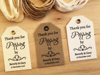 Personalised Wedding POPPING BY Popcorn Favour Tags -Vintage Kraft/White/Ivory 3