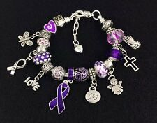 "6""-7"" Purple Ribbon Silver Charm Bracelet, Chronic Pain Fibro Lupus CF Awareness"
