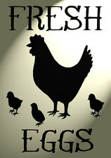 Shabby Chic Stencil Chicken Fresh eggs Rustic Mylar Vintage A4 297x210mm wall