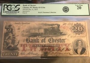 Chester  South Carolina , bank of , 1855 $20  Pcgs 20