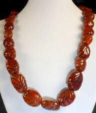 OLD VERY FINE RARE QUALITY CARNELIAN LEAF BEAD NECKLACE TIBETAN 19th CENTURY