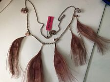 BETSEY JOHNSON Pinktina Necklace, PINK Peacock Feathers Skull Rose, BOWS, NWT