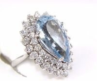 Pear Cut Blue Topaz & Diamond Halo Solitaire Ring 14k White Gold 14.57Ct