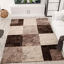 Alfombra jaspeada para el salón motivo cuadrados en marrón y beige