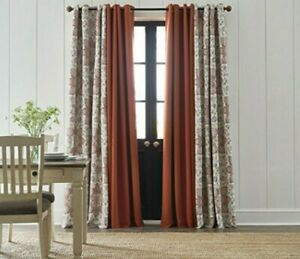 (1) JCPenney Wallace Medallion Auburn Spice Pumpkin B/O Grommet Curtain 50x84
