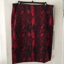 Worthington Women's Skirt Plus Size 20W Career Wear Red Snakeskin Pattern