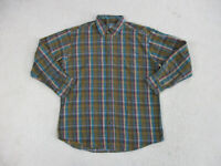Woolrich Button Up Shirt Adult Large Green Blue Plaid Long Sleeve Casual Mens