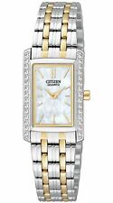 New Citizen EK1124-54D Ladies Dress Crystal Two Tone Stainless Steel Watch