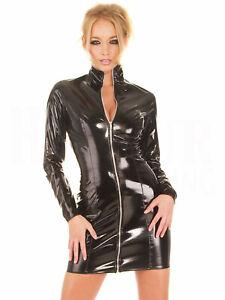 Sexy Women Wet Look PVC Faux Leather Bodycon Dress Clubwear Mini Skirts Black