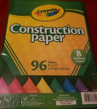 """CRAYOLA CONSTRUCTION PAPER 96 SHEETS 9"""" X 12"""" IN 8 DIFFERENT COLORS - NEW"""