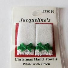 Dollhouse Pr Hand Towels Christmas 5380H Jacquelines White w Grn Bows Miniature