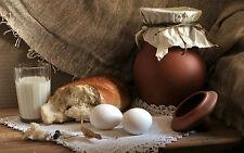 Incorniciato stampa-ANCORA VITA UOVA PANE vasetto di argilla latte (foto poster arte cibo)