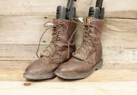Justin Mens Brown Leather Lace Up Cowboy Work Boots SZ 8.5 D