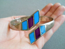 Silver Clamp Hinged Bracelet Contemporary Turquoise Sugilite Inlay Sterling