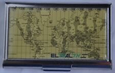 EL AL  Israel Airline company Business Card Holder case world map time zones