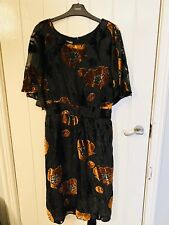 BNWT Laura Ashley Black Floral Tea Dress Size 18 Wedding 16 Vintage 1920s £125