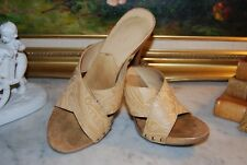 MICHAEL MICHAEL KORS TAN LEATHER WOOD PLATFORM  WOMEN'S SANDAL SHOES SIZE 8 M