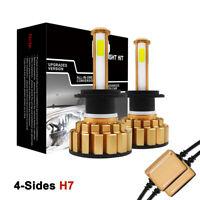 4-Sides 200W H7 LED Headlight Kits 6500K White Canbus Error free Car Bulbs 360°