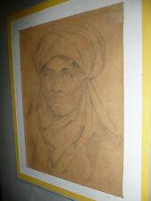 Orientaliste Dessin ancien sur papier représentant portrait de femme drawing