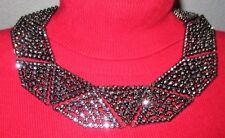 INC Hematite Tone Metallic Black Pave Geometric Collar Necklace NWT $59