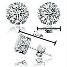 Classical 925 Sterling silver 8mm Clear  Gem CZ Diamonique Crown Earring