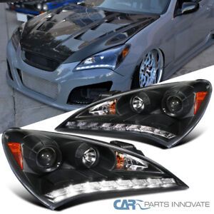 For 10-12 Hyundai Genesis Coupe Black SMD LED DRL Projector Headlights Lamps